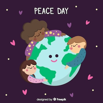 Peace day background with kids holding hands around the world