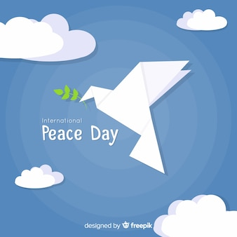 Peace day background with modern origami dove