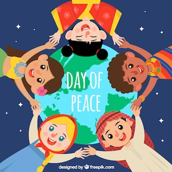 Peace day background with united children
