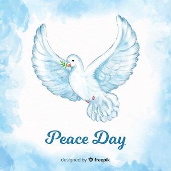 Fondo di giorno di pace con la colomba dell'acquerello