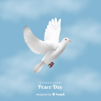 Peace day background with white dove