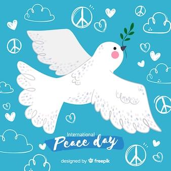 白い鳩と平和の日の背景