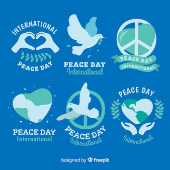 Peace day badge collection flat design