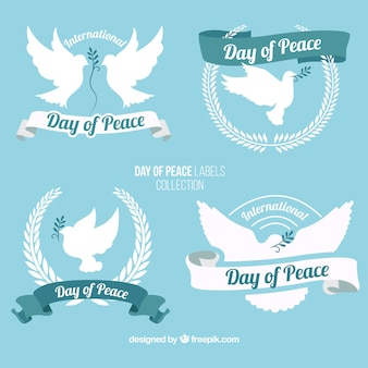 Peace day beautiful badges with dove
