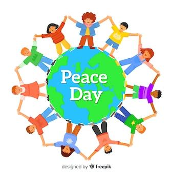 Peace day children around the world in flat design