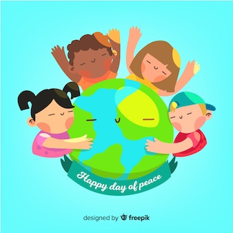 世界中の子供たちと一緒に平和の日の構成