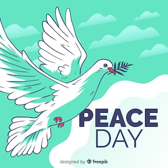 Peace day composition with hand drawn white dove