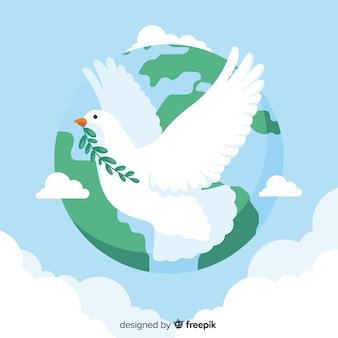 Concetto di giorno di pace con una colomba