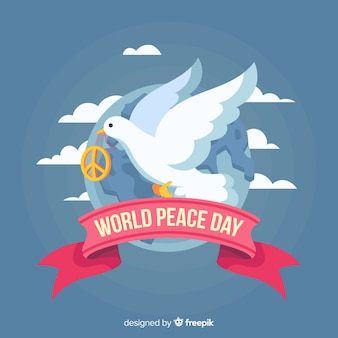 Peace day concept with flat design dove