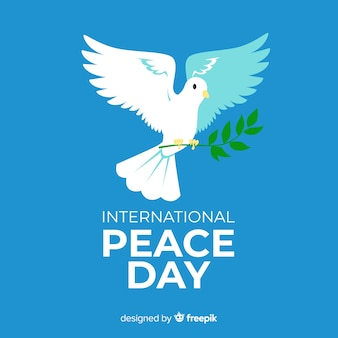 Концепция день мира с рисованной голубя