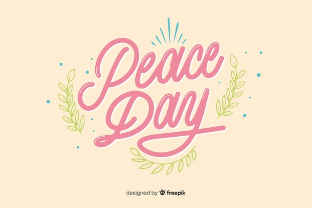 Peace day concept with lettering