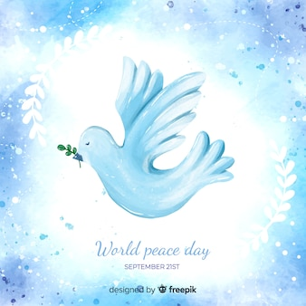 Peace day concept with watercolor dove