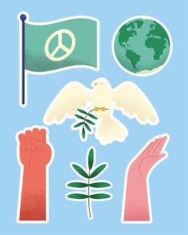 Peace day set six icons