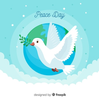 Peace day with dove flat design
