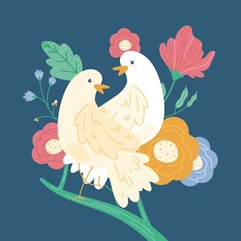 Peace doves in garden scene