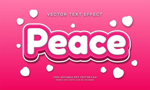 Редактируемый текстовый эффект мира, тематическая любовь, мирная