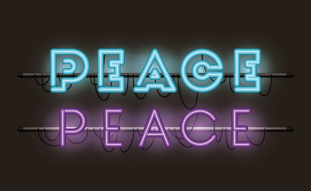 Peace fonts neon lights