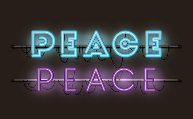 Peace fonts neon lights
