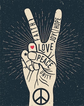 Peace hand gesture sign with words on it. peace love poster concept. vintage styled  illustration