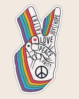Знак жест рукой мира со словами на нем. мир любви наклейка концепция для плакатов или дизайн футболки. винтажный стиль иллюстрации