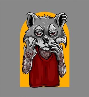 Peace hand sign fox