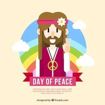 平らなデザインの平和、ヒッピー、レインボー