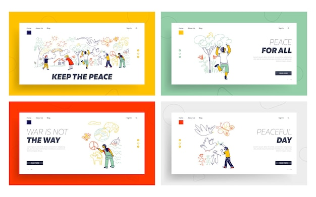 Peace or international children day landing page template set. kids characters of different nationalities painting with pencils on white wall