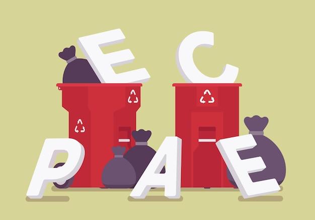 휴지통에 평화 편지