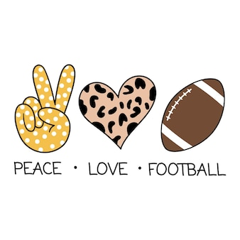 Peace love football vector illustration isolated on white background