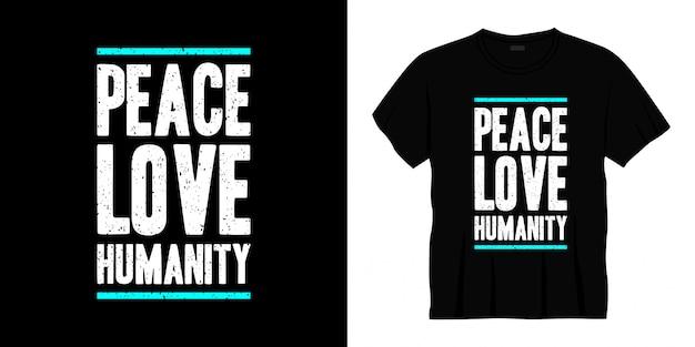 平和愛人類タイポグラフィtシャツデザイン