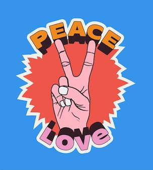 Peace love vintage comic styled label or sticker or poster or t shirt design template with peace hand gesture in bright colors isolated on blue background vector illustration