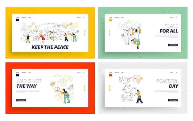 平和または国際こどもの日ランディングページテンプレートセット。白い壁に鉛筆で絵を描くさまざまな国籍の子供たちのキャラクター