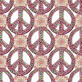 Peace pattern. creative doodle background. vector hippie seamless texture.