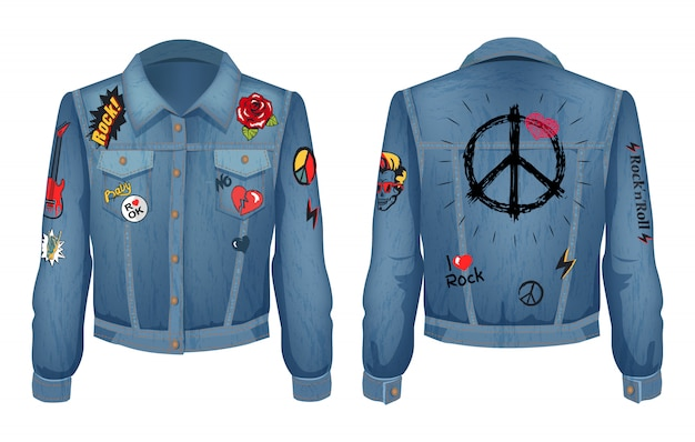 Peace sign on back of jacket illustration