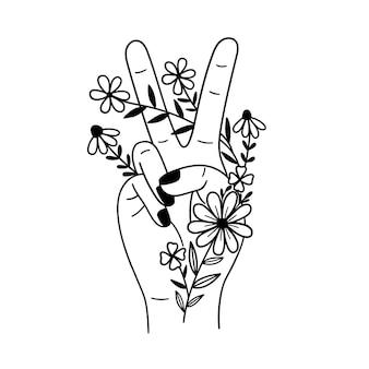 평화 서명 손 바깥쪽으로 두 손가락과 꽃 개요 그리기