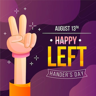 Peace sign left handers day flat design