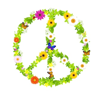 平和のシンボル、白い背景の上の図。