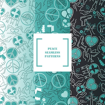Peace symbols in seamless pattern fine line pacifist icons stop war protect earth stand for peaceful life