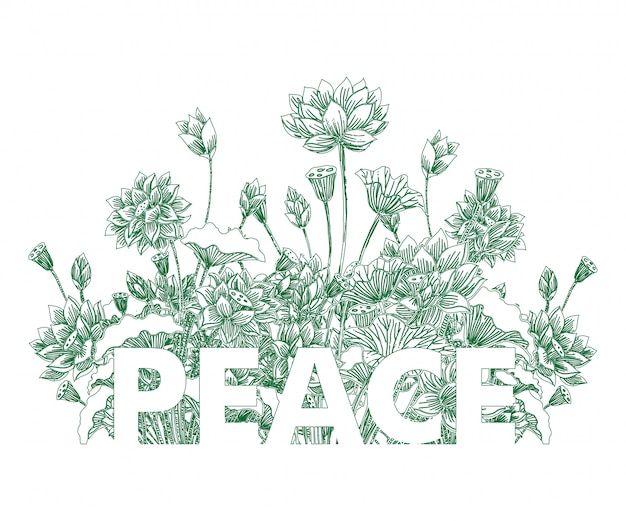 Peace typography on lotus floral