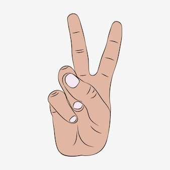 Peace and victory hand gesture sign. vector illustration.
