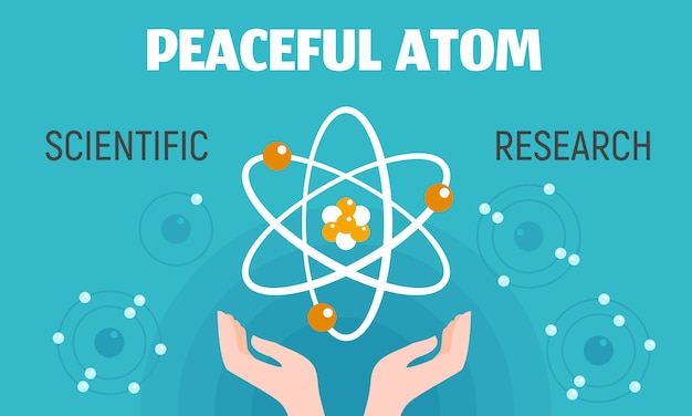 Peaceful atom concept banner, flat style.
