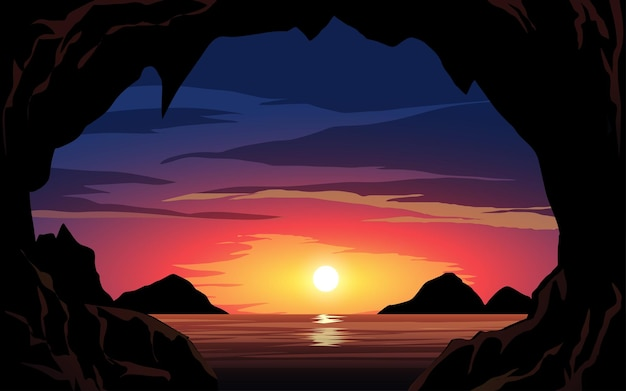 Peaceful beach sunset view with rocks