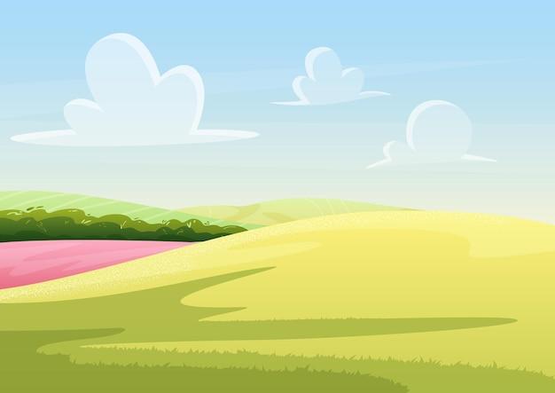 평화로운 만화 여름 필드 자연 풍경 배경