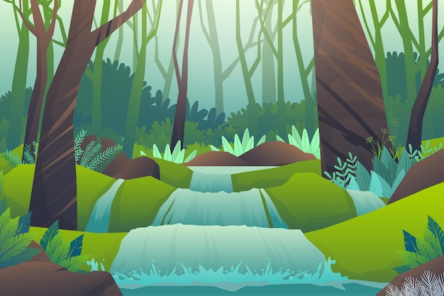 Peaceful forest tree and treams through the hills, beautiful landscape, outdoors adventure on green,  illustration