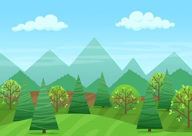 산들과 평화로운 녹색 풍경 프리미엄 벡터