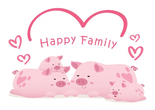 Peaceful happy pig family conceptual