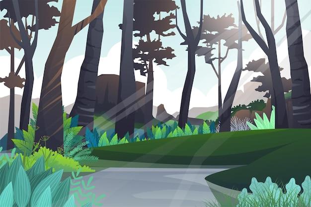 자연 연못과 산이있는 평화로운 언덕과 숲 나무. 아름다운 풍경, 녹색과 실루엣, 그림에 야외 모험