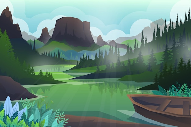 Colline pacifiche e alberi forestali e montagne rocciose, bellissimo paesaggio, avventura all'aria aperta su verde e barca, illustrazione