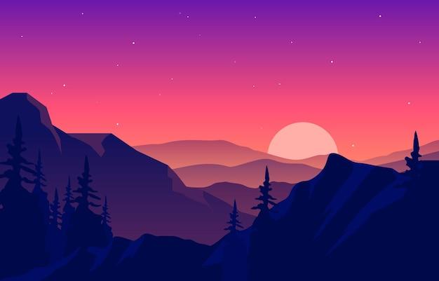 Мирный горный пейзаж панорама в монохроматической плоской иллюстрации