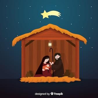 Peaceful nativity scene illustration